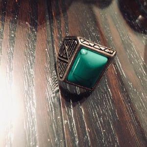 Turquoise Stone Size 8 Aztec Marked Ring
